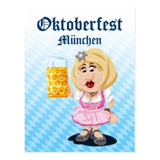 Bière de femme de bande dessinée de Lederhosen Carte Postale