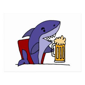 Bière potable de requin drôle carte postale