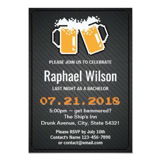 Bières de pixel et carte fraîches d'enterrement de carton d'invitation  12,7 cm x 17,78 cm