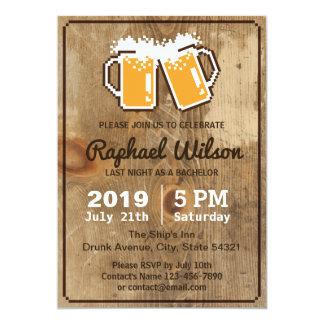 Bières fraîches de pixel et carte en bois carton d'invitation  12,7 cm x 17,78 cm