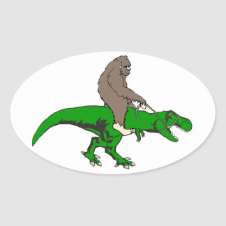 Bigfoot montant T Rex Sticker Ovale
