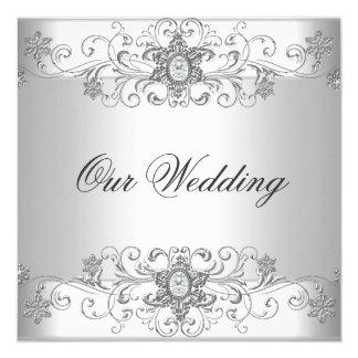 Bijou blanc de diamant d'argent élégant de mariage carton d'invitation  13,33 cm