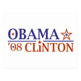 Billet superbe 2008 d'Obama Clinton Carte Postale