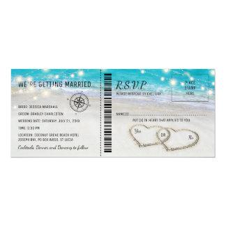 Billet tropical de mariage de coeur de plage avec carton d'invitation  10,16 cm x 23,49 cm