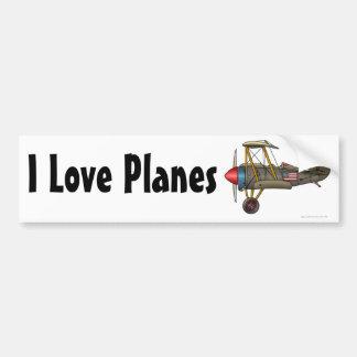 """""""Biplan vintage d'avion, j'aime des avions… Pare-c Autocollant De Voiture"""