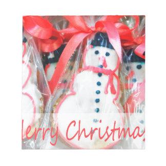 Biscuit de bonhomme de neige de Joyeux Noël Bloc-note