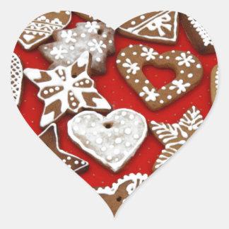 Biscuits de pain d'épice de Noël Sticker Cœur