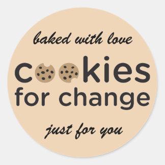Biscuits pour le changement cuit au four avec des sticker rond