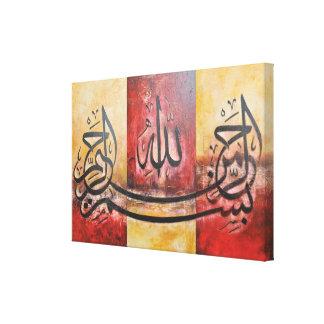 Bismillah 3 panneaux dans un art ORIGINAL sur la Toiles