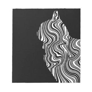 Black and White Cat Swirl abstrait monochrome Bloc-note