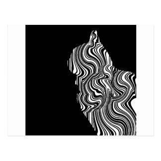 Black and White Cat Swirl abstrait monochrome Carte Postale
