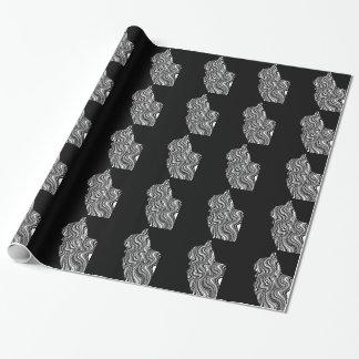 Black and White Cat Swirl abstrait monochrome Papiers Cadeaux Noël