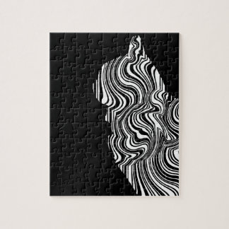Black and White Cat Swirl abstrait monochrome Puzzles
