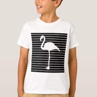 Black and White Striped le Flamingo T-shirt
