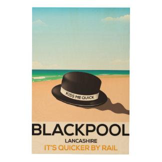 """Blackpool """"kust me snel"""" de treinposter van de hout afdruk"""