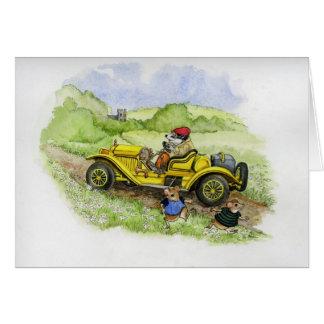 Blaireau de Bertie dans sa nouvelle automobile Carte De Vœux