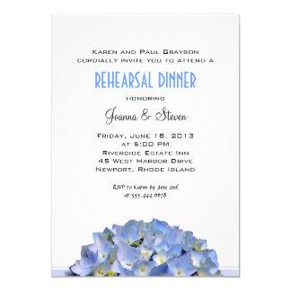 Blanc avec le dîner bleu de répétition de mariage carton d'invitation  12,7 cm x 17,78 cm