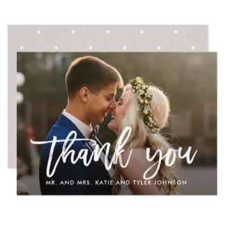 Blanc balayé de carte photo de Merci de mariage de