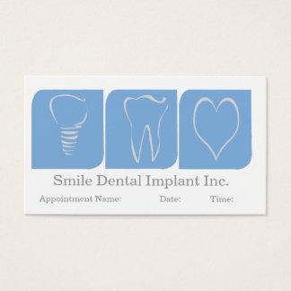 Blanc bleu de bureau de dentiste d'implant oral cartes de visite