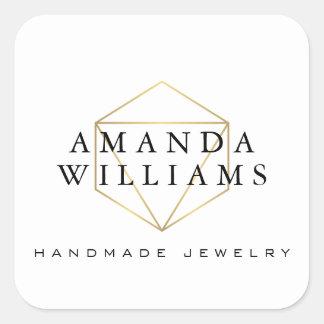 Blanc chic de concepteur de bijoux de pierre gemme sticker carré