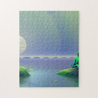 blanc de lune et vert de collines puzzle