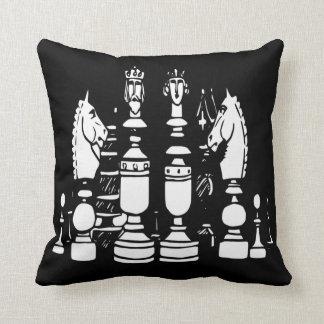 Blanc de noir de coussin de décor d'échecs