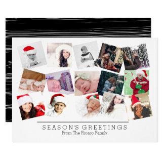Blanc de noir de Noël de collage de 15 photos Carton D'invitation 12,7 Cm X 17,78 Cm