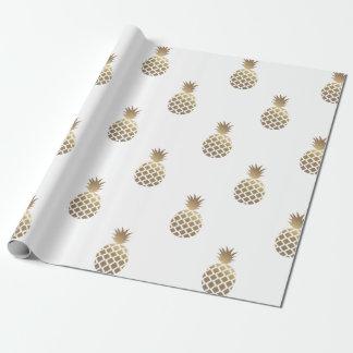 Blanc de papier d'emballage de motif d'ananas d'or papier cadeau