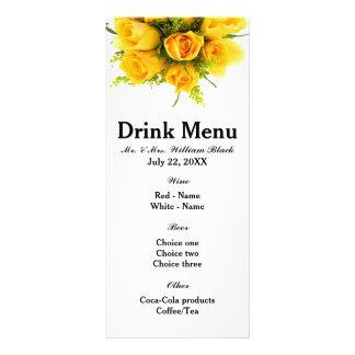Blanc de roses jaunes - menu double carte en  couleur