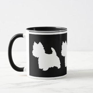 Blanc de silhouette de Westie sur le noir Mug