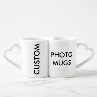 Blanc des tasses des amants de photo personnalisés