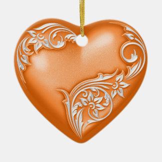 Blanc du citrouille W de rouleau de coeur Ornement Cœur En Céramique