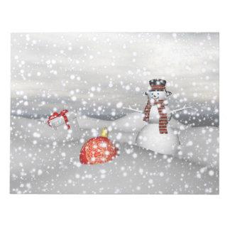 blanc et cadeau de bonhomme de neige bloc-note