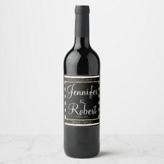 Blanc et étiquette noirs de vin de mariage de