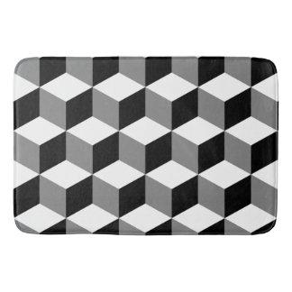 Blanc et gris de noir de motif de cube tapis de bain