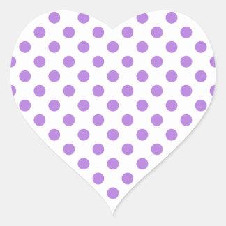 Blanc et pois de lavande sticker cœur