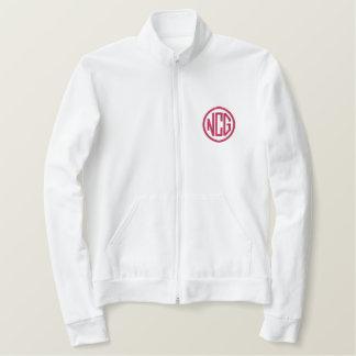 Blanc et veste de monogramme brodée par rose