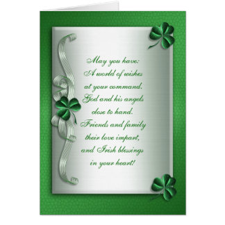 Blanc irlandais de carte de note de bénédiction