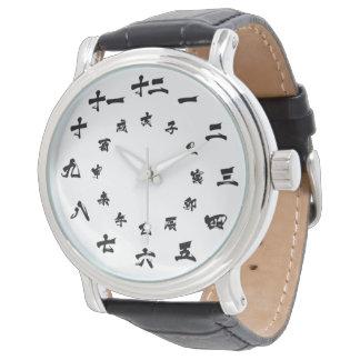 Blanc japonais de montre de zodiaque de kanji