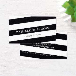 Blanc noir audacieux de rayure à angles MINIMALE Cartes De Visite