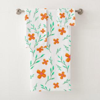 Blanc orange de motif de fleur