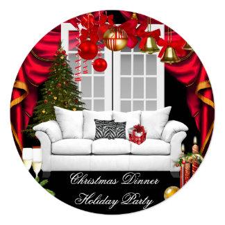 Blanc rouge de Noël de fête de vacances élégante Carton D'invitation 13,33 Cm