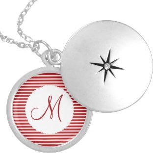 Blanc rouge personnalisé d'initiale de monogramme  médaillons