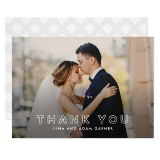 Blanc simple de carte photo de Merci de mariage