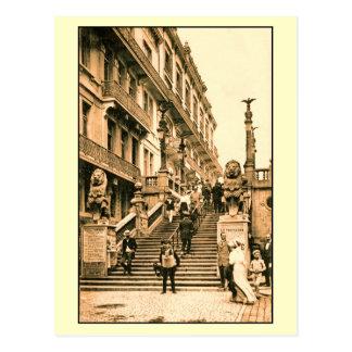 Blankenberge vintage, escalier des lions carte postale