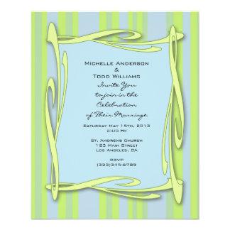 blauw geelgroen gestreept huwelijk folder