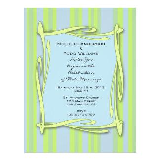 blauw geelgroen gestreept huwelijk gepersonaliseerde folder
