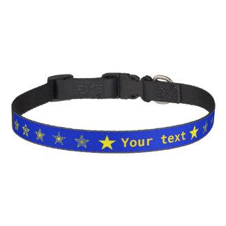 Blauw met gele gepersonaliseerde sterren huisdier halsbandje