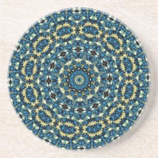 Blauw Patroon Mandala Zandsteen Onderzetter