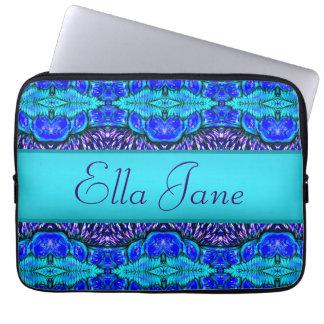 blauw patroonlaptop computersleeve met naam computer sleeve